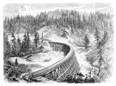 Secret Town Trestle, California. Illustration originally published in Hesse-Wartegg's