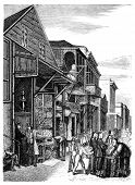 Chinatown in San Francisco. Illustration published in Hesse-Wartegg's
