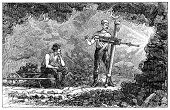 Old engraving from 1879 depiciting miners tunneling with a power drill.
