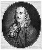 Benjamin Franklin (1706-1790) was one of the Founding Fathers of the United States. Illustration fro
