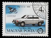 HUNGARY - CIRCA 1986: Hungarian commemorative stamp celebrating 100 years of the automobile. Fiat 3