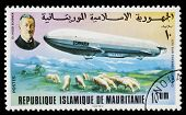 MAURITANIA - CIRCA 1976: A stamp printed in Mauritania shows Zeppelin, the LZ 10 Schwaben was a Germ