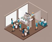 Isometric Office Of The Bank, Bank Employees Serve Customers, Issue Credit, Bank Loans, Borrowing. W poster