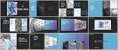 Minimal Presentations Design, Portfolio Vector Templates With Elements On Black Background. Multipur poster