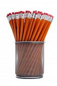 Group Of Pencils In A Wire Mesh Desktop Organizer