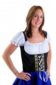 Beautiful Woman Wearing A Traditional Dirndl Costume For Oktoberfest Celebrations