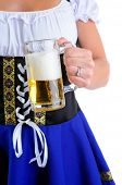 Beautiful Woman Wearing A Traditional Dirndl Costume For Oktoberfest Celebrations Holding A Beer Stein