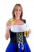 Beautiful Woman Wearing A Traditional Blue Dirndl Costume For Oktoberfest Celebrations Eating A Pretzel And Holding A Beer Stein