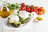 Avocado Toast, Cherry Tomato On Wooden Background. Breakfast With Toast Avocado, Vegetarian Food, He poster