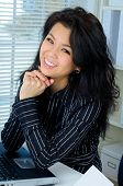 Beautiful Young Asian Business Woman Smiling