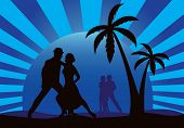 Silhouettes of dancers on a blue sunset background.