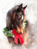 Dreamy Christmas image of a dark bay Arabian horse wearing a wreath and a bow