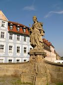 Monument on bridge in Bamberg, Bavaria, Germany.