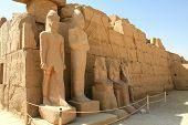 Egyption statues kings - Ramesses II, Ramesses III, Tuthmosis III etc., in Temple of Karnak, Egypt