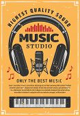 Music And Sound Recording Studio. Vintage Microphone, Headphones And Piano Old Scratches Banner, Dec poster