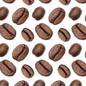 Coffee beans background, Isolated on white. Food concept.. Coffee beans pattern. poster