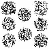 Motivational And Inspirational Quotes Sets For Mental Health Day. Just Breathe, How Are You, You Are poster