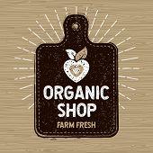 Organic Shop Logo, Farm Fresh Food Label, Cutting Board, Rays, Wood, Elements, Emblem For Eco Shop,  poster