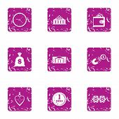 Indemnity Icons Set. Grunge Set Of 9 Indemnity Vector Icons For Web Isolated On White Background poster