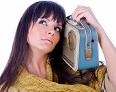 Pretty caucasian woman  with handhold radio