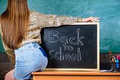 School Dress Code. Back And Buttocks Student Near Chalkboard. Girl Denim Skirt Breaking School Cloth poster