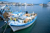 picture of catching fish  - Small harbor of fisherman at Cyprus island - JPG