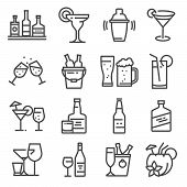 Vector Line Alcohol Icons Set. Shake, Martini, Beer, Cocktail, Margarita, Coconut Cocktail Whiskeych poster