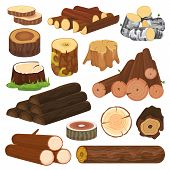 Log Vector Tree Lumbers Or Logging Trunks And Hardwood Of Wooden Timbered Materials In Sawmill Illus poster