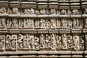 Detail of Vishnavath temple, Khajuraho, Madhya Pradesh, India.