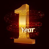 1 Year Golden Anniversary 3d Logo Celebration With Gold Glittering Spiral Star Dust Trail Sparkling  poster