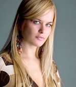 Beautiful blue eyes woman  portrait ,studio shot