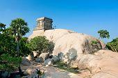 Mandapam shiva temple on top main hill in Mamallapuram,Tamil Nadu, India