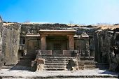 Facade of ancient Ellora rock carved Buddhist temple,near Aurangabad, Maharashtra, India