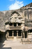 Entrance and Elephant statue in the  Jain Temple (Indra Sabha). Cave number 32, Ellora Caves, near A