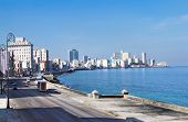 Havana Malecon - Centre and Vedado. Panorama of Havana's famous embankment promenade. Cuba