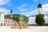 Central platz wiht  fountain in Salzbug, Austria