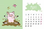April Month 2019 Year Calendar Page With Cute Pink Pig, Dirty Por poster