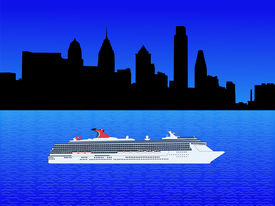 picture of cruise ship  - Cruise ship on Delware river and Philadelphia skyline illustration - JPG