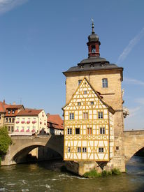 pic of regnitz  - Old City Hall for Bamberg on a Bridge over the River Regnitz - JPG