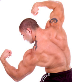 stock photo of body builder  - Athletic sexy attractive male body builder - JPG