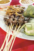 Chicken And Mutton Satay With Ketupat And Peanut Sauce