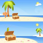 seaside banners for children with pirate island theme