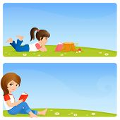 colorful banners for kids - cute girls reading a book on a meadow