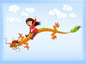 cute asian girl riding an ancient Chinese dragon