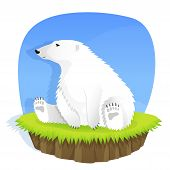 illustration of a cute polar bear sitting on grass