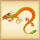 colorful Chinese dragon illustration on light beige background