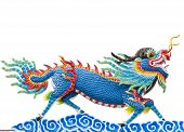 picture of chinese unicorn  - Chinese style blue dragon statue at roof temple isolate on white background dragon - JPG