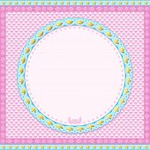 Pink and blue round Frame with stars