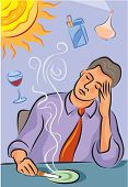Illustration About Migraine Triggers Showing A Man With Headache; A Bright Sun; Cigarette Smoke; Red