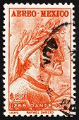 Postage stamp Mexico 1965 Dante by Raphael, Fresco